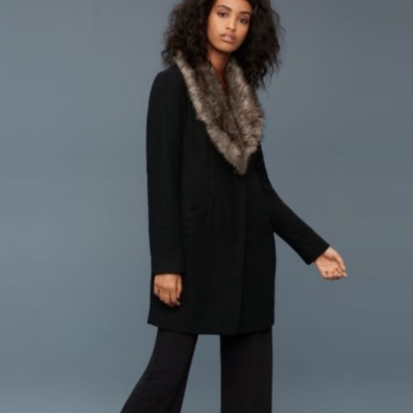 Wilfred Cocoon Coat with Faux Fur Collar Sz S